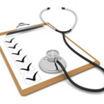 Photo of stethoscope on clipboard