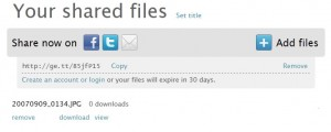 Ge.tt's file sharing screen