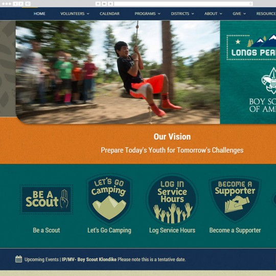 Desktop screenshot of Longs Peak BSA site