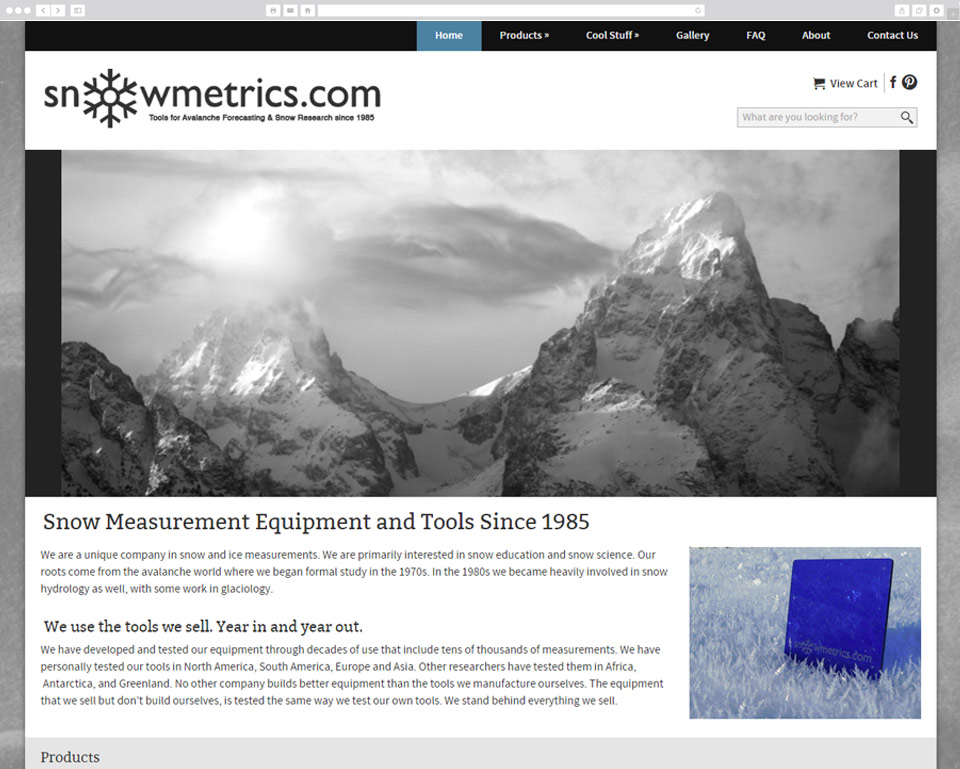 Screenshot of Snowmetrics website