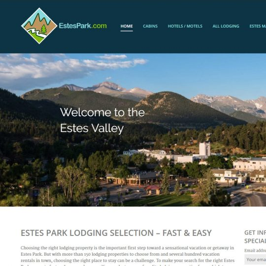 Screenshot of EstesPark.com desktop view