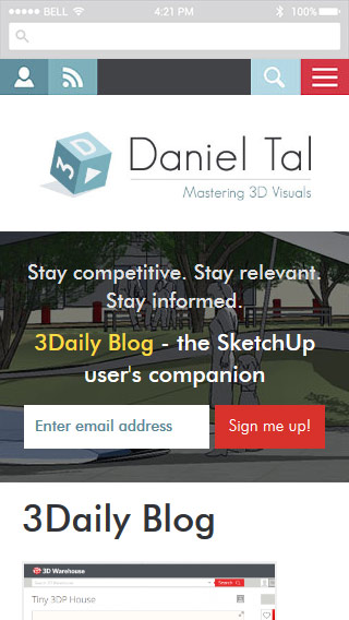 Screenshot of DanielTal.com mobile view