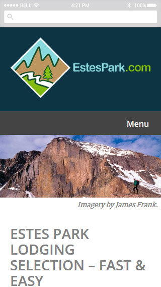Screenshot of EstesPark.com mobile view