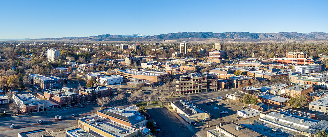 Fort Collins, Colorado aerial view